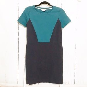 Boden Navy Blue and Teal Pull on Dress size 2 NWOT
